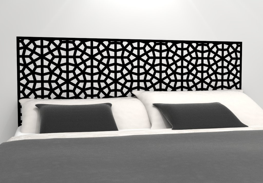 """Moroccan Pattern Headboard Decal - Geometric Pattern Vinyl Wall Sticker - Removable Bedroom Decor - Inspired by Morocco - Headboard Wall Graphic (queen 61"""" x 22"""", black)"""