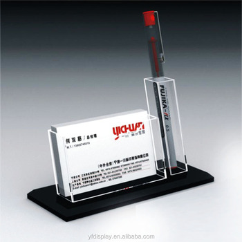 Custom Made Acrylic Business Card And Pen Holder For Office