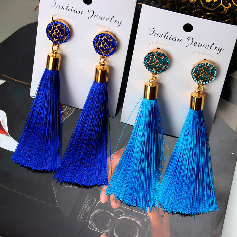 Fashion <strong>Gold</strong> Rose <strong>flower</strong> Metal Long Fan Tassel Drop <strong>Earrings</strong> For Women NS8062896