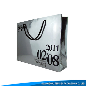 silver color printed paper bag luxury cloth carrying bag with logo