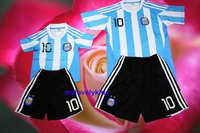 Youth/Kids Argentina Messi Soccer Jersey & Free Shorts