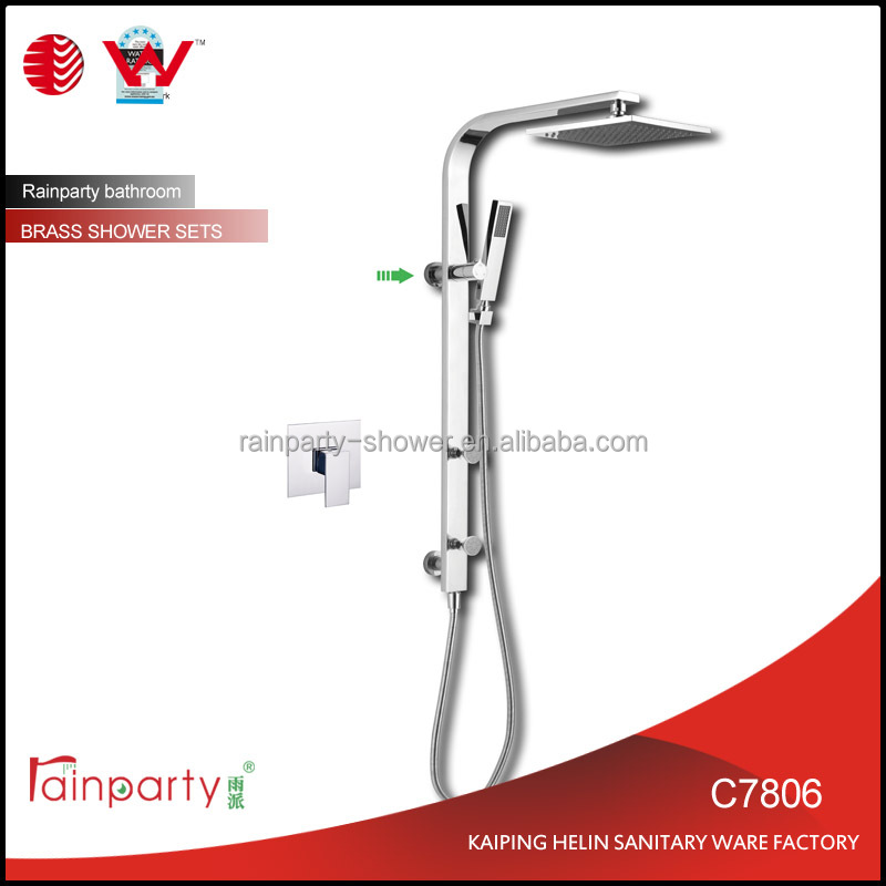 Contemporary Polished Chrome Shower Tap Exposed Bath & Shower Set thermostatic shower set with body jets
