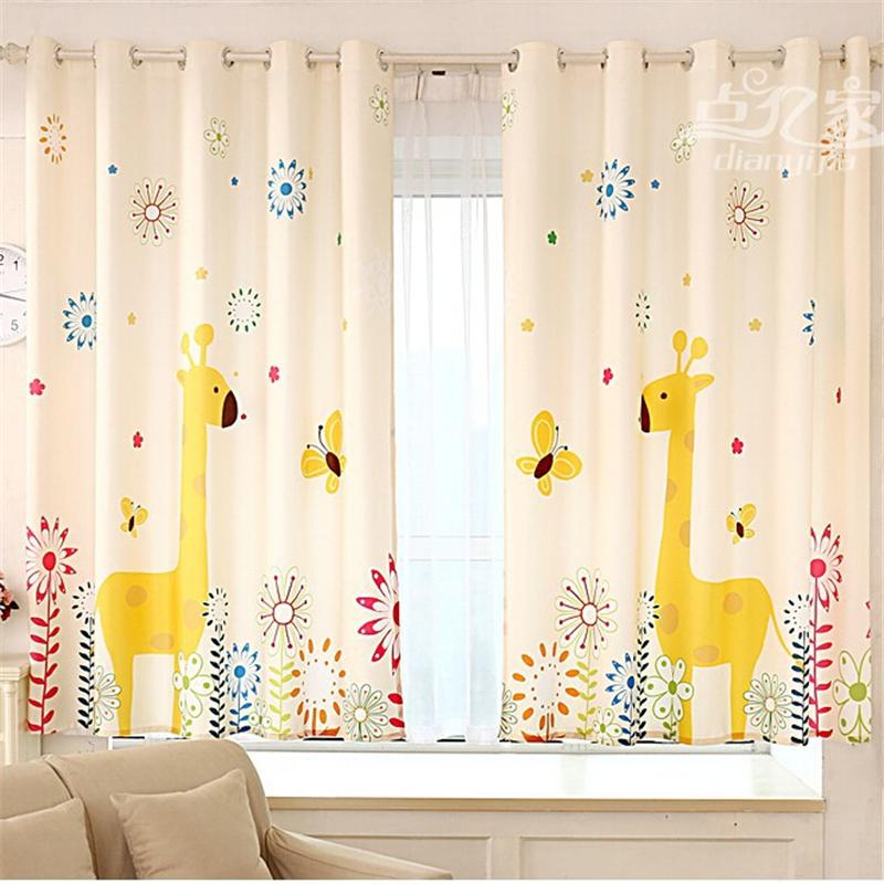 Giraffe Green Print Children Curtains Cartoon Floating