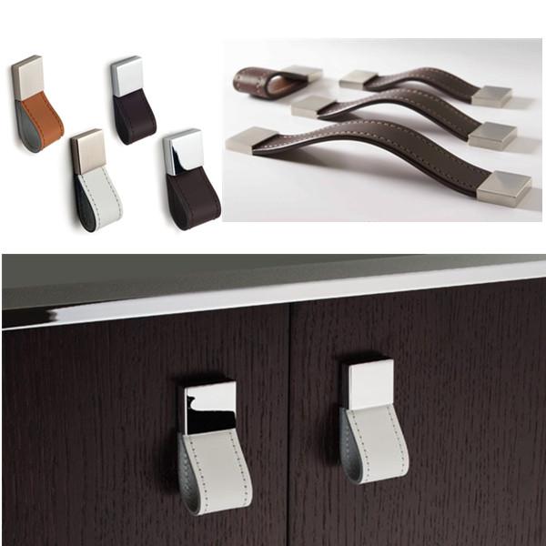 Qualit design l gant poign e en cuir super meubles - Poignee de meuble en cuir ...