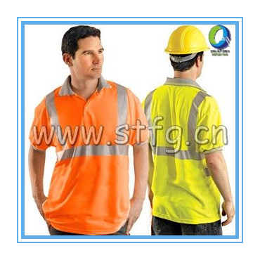 100% Polyester Fabric Reflective Stripes Safety Polo Shirt