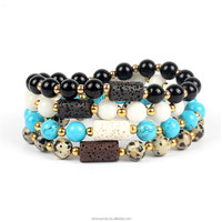 Fashion Jewelry High Quality Mens semi-precious stone elastic bracelet Bead Bracelets for Mens