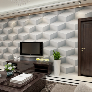 Italian Style 3D Effect Geometric Wallpaper For Study Room Plain Color