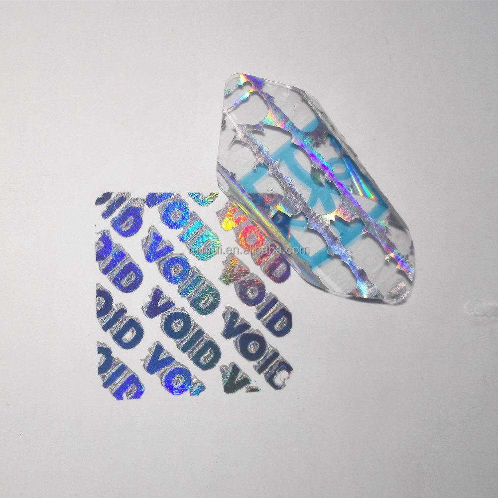 High quality custom made self adhesive hologram 25 x 25mm security void sticker security hologram void sticker
