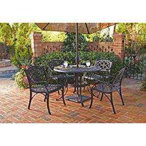 Home Styles 5554-308 Biscayne 5-Piece Outdoor Dining Set, Black Finish, 42-Inch