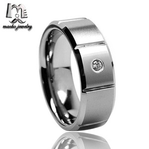 Bridal Jewellery Sets 8mm Mens Tungsten CZ Diamond Wedding Ring with Grooved