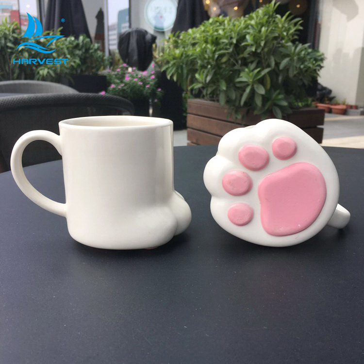 3D ceramic cartoon cat paw cup animal foot shape Mug OEM