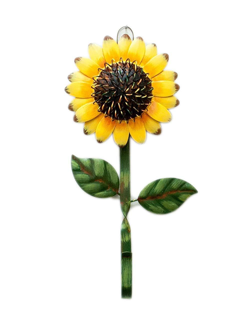 Single Wall Hook With Sunflower Design, Rustic Vintage Metal Key Hook Wall Hanger, Decorative Gift Idea (Sunflower)
