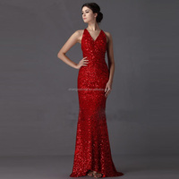 Super September Gorgeous Evening Gowns Red Mermaid Sparkle Sequins Long Women Evening Dresses 2017