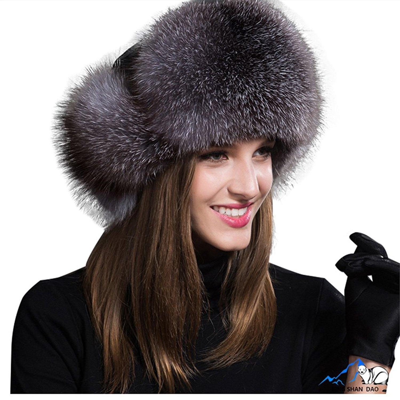 14a47b5c6012e Jancoco Max Womens Winter Hat Genuine Fox Fur Russian Trapper Ushanka Hats