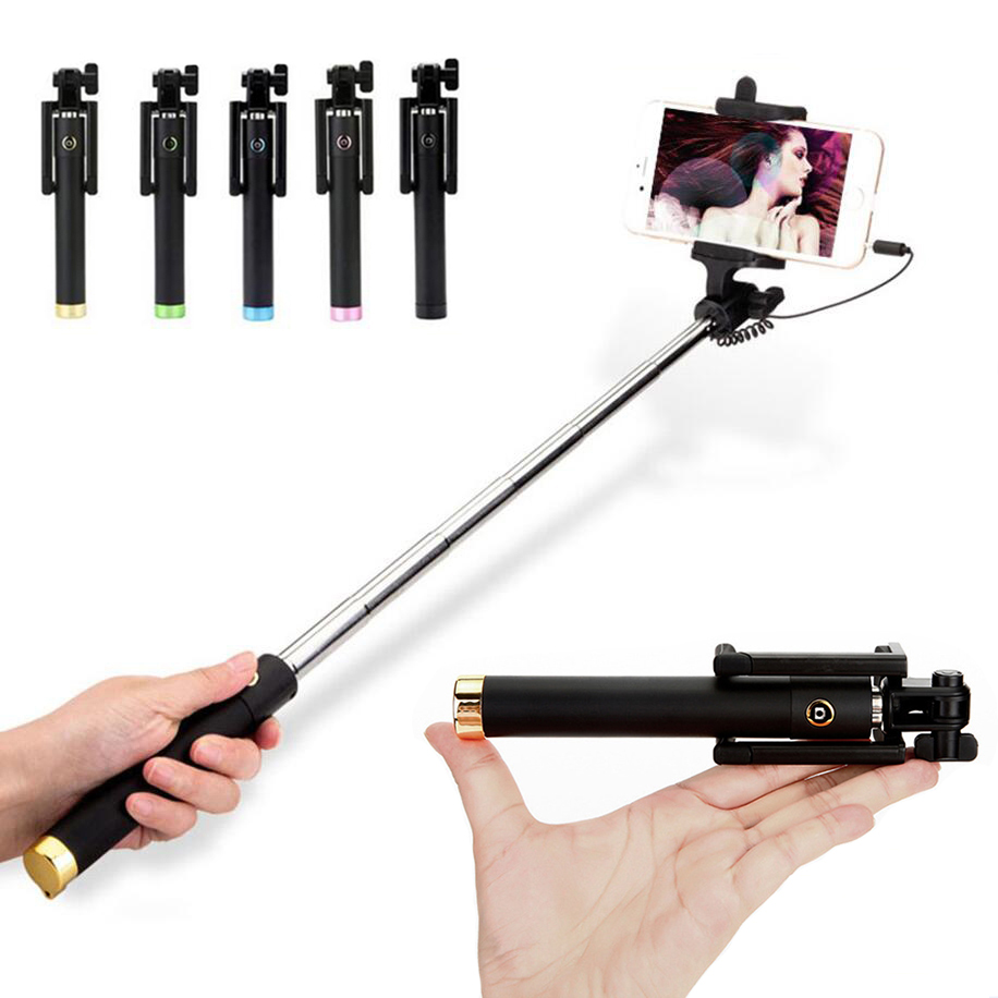 High Quality Mini Wired Selfie Stick 18 5 80cm Foldable