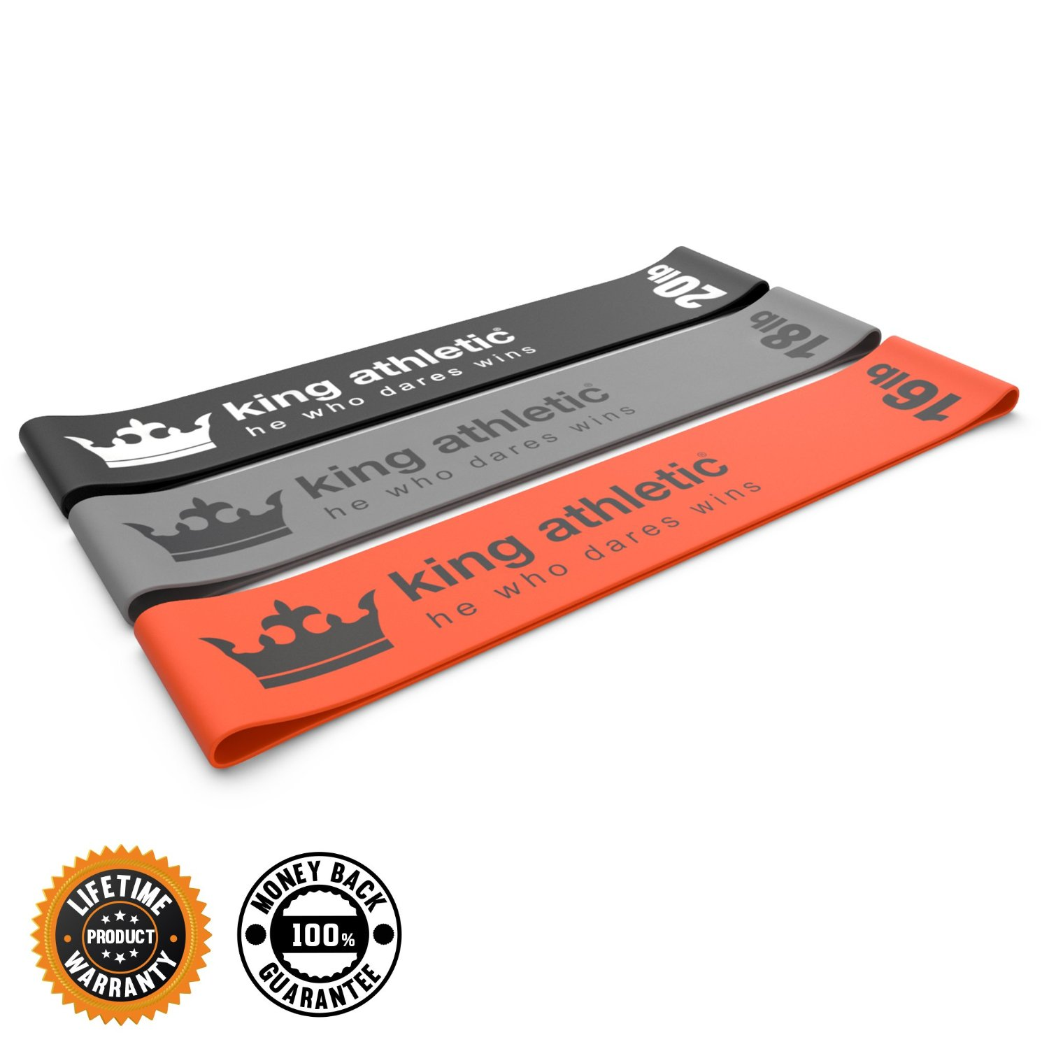 King Athletic Exercise Loop Band Set :: Heavy to Light Stretch Resistance Bands for Legs & Arms :: Best for Pilates, CrossFit, Fitness Training and Sports Therapy :: Orange