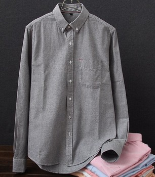 Factory wholesale shirts mens cotton plain oxford dress casual shirts with pocket