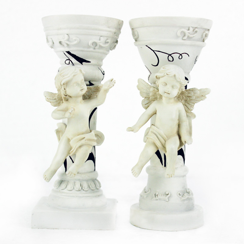 resin candle holder for home decoration angel on pillar candle holder