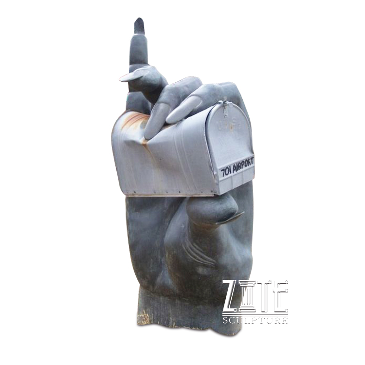 Modern outdoor decoration bronze hand holding mailbox sculpture