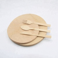 Eco-Friendly bamboo disposable cutlery set fork knife spoon plate
