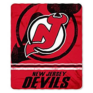 NHL New Jersey Devils Throw Blanket, 50x60, Red, Black, White, Fade Away Fleece Sports Hockey Stacked Multi Colored, Polyester Soft Touch, Machine Washable Team Logo, Perfect For Living Room