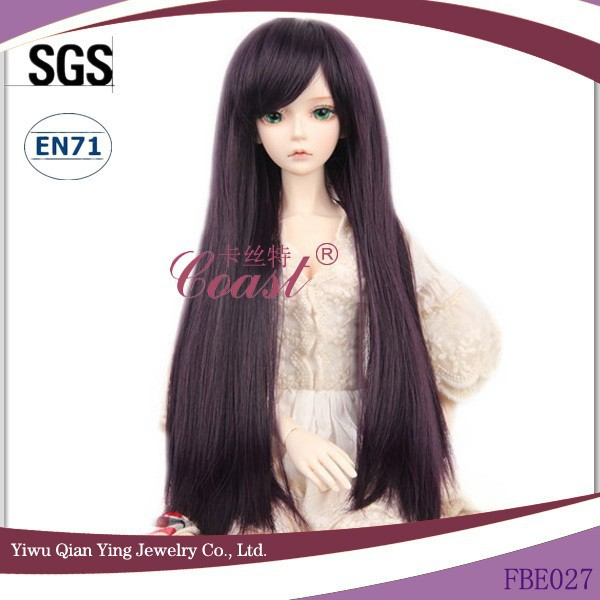 Beauty long straight black synthetic 18 doll hair wigs