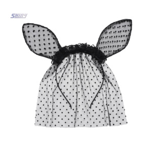 Fashion Girls Ears and Lace Veil Headband