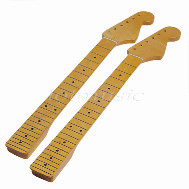 buy 2pcs yellow paint 22 fret wire maple guitar neck for fender replacement. Black Bedroom Furniture Sets. Home Design Ideas