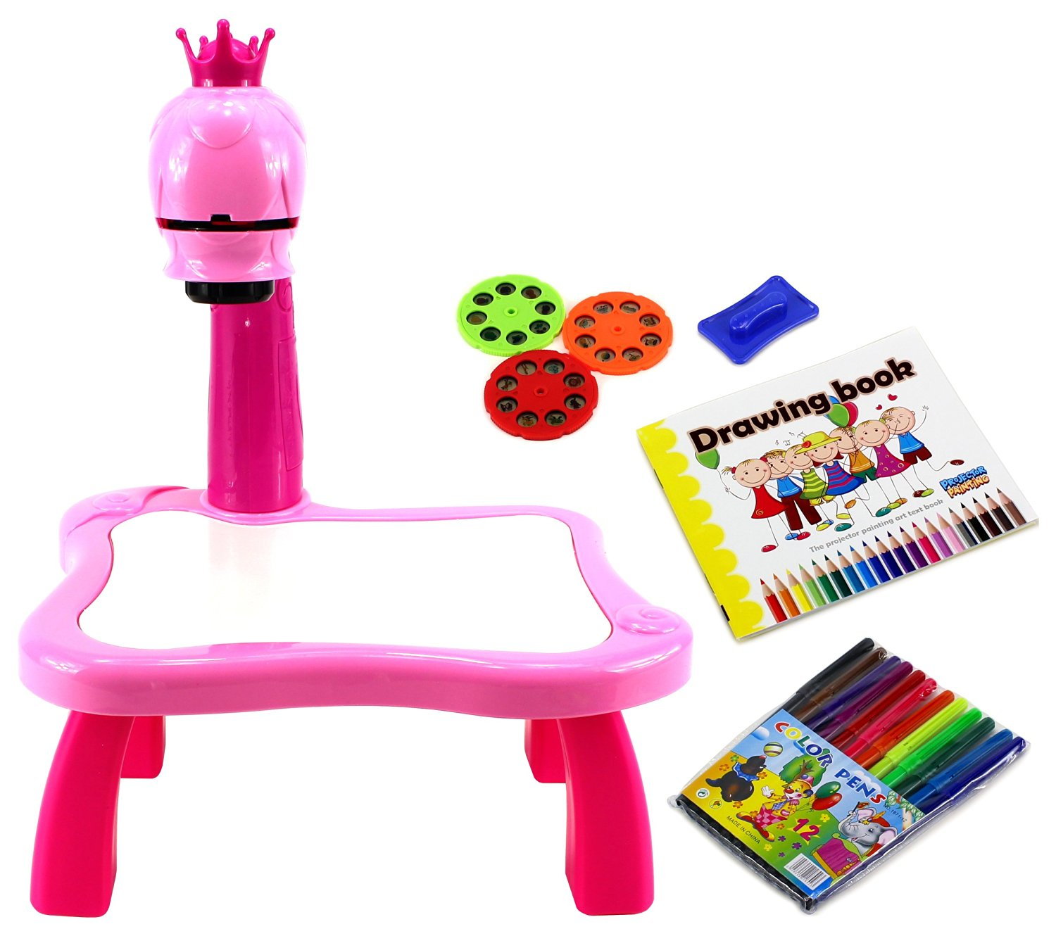 Velocity Toys Princess Learn & Draw Art Projector Wet Erase Board Children's Kid's Toy Playset w/ 24 Images, 12 Markers, Sketchbook, Music (Pink)