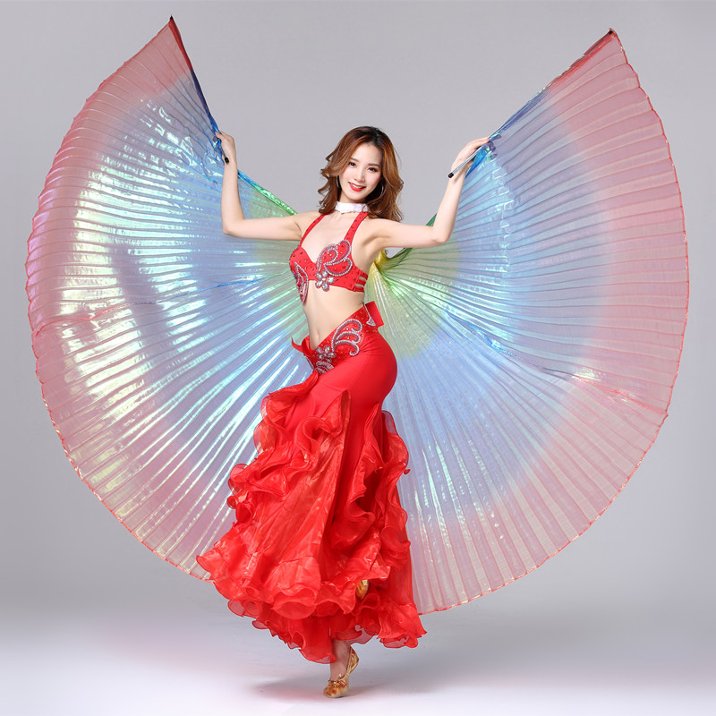 Fashion Led Props Wing For Belly Dance 300 Leds Polyester 3 Color Lamps Butterfly Bellydance Isis Wings Dancing Accessories Stage & Dance Wear Belly Dancing