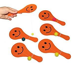 Dazzling Toys Large Orange Paddle Ball Game, 8 pack