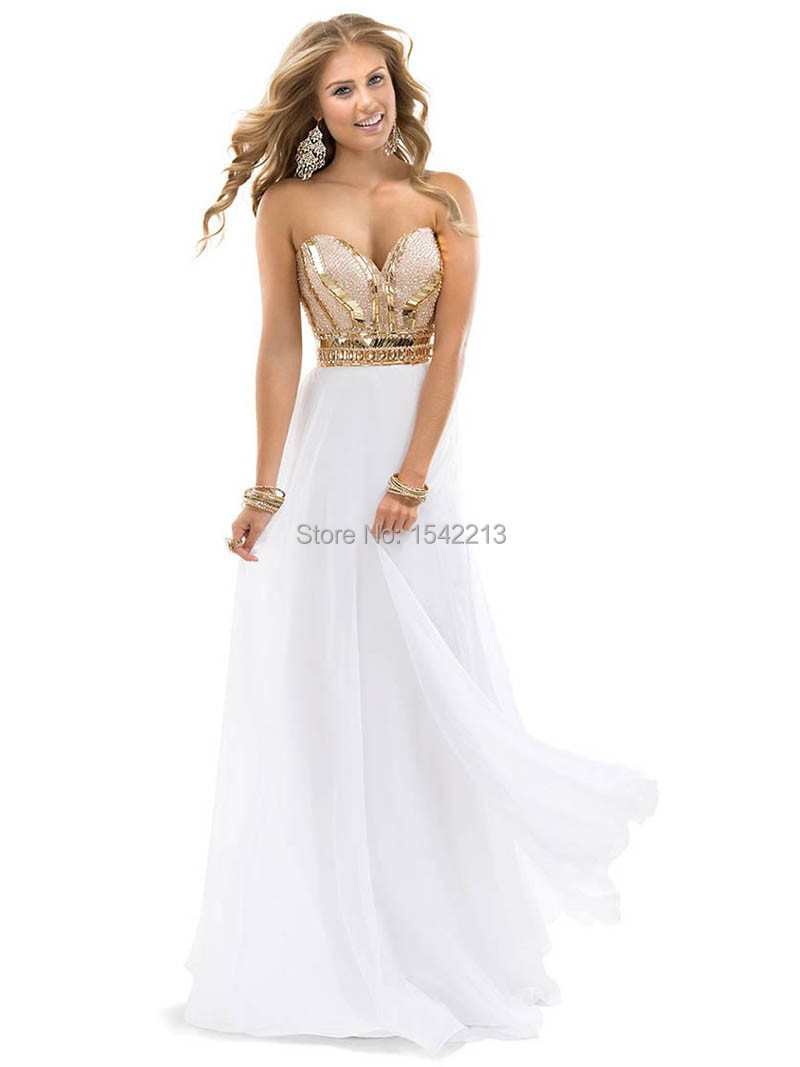 Gold Appliqued Formal Elegant Long White Sweetheart ...