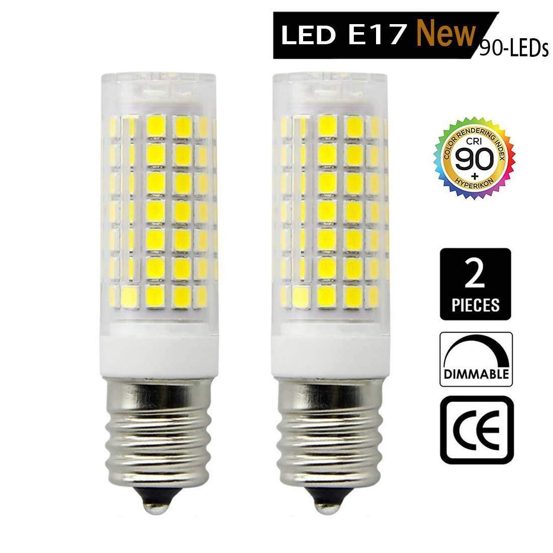 LED E17 Bulb for Microwave Oven, Freezer, Under-Microwave Stove Light, 7.5 Watt (75W Halogen Bulbs Equivalent), AC110-130V, Intermediate Base Led, Dimmable E17 Bulb, 2-Pack (Daylight White 6000K)