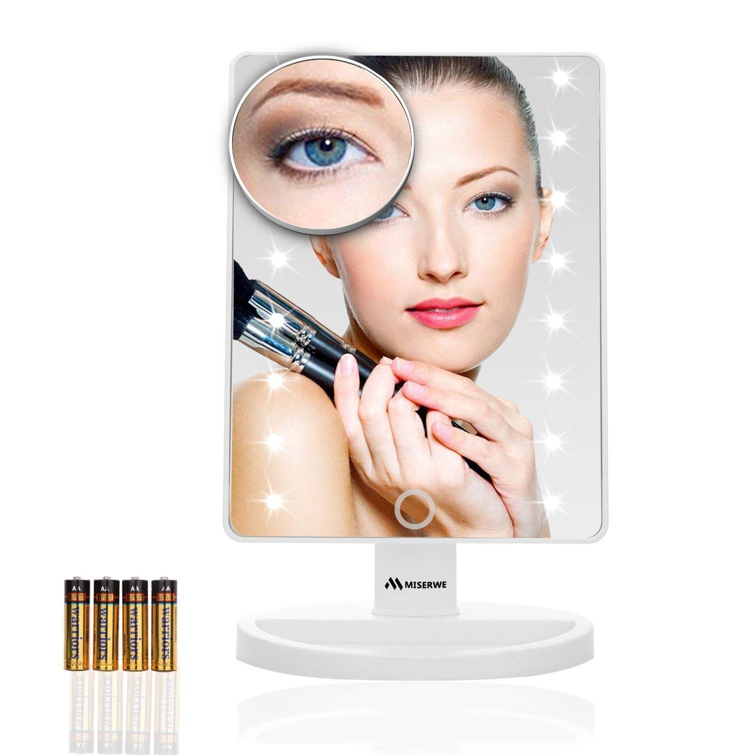 Miserwe Makeup Mirror with Lights Touch Screen 16 Led Lighted Vanity Mirror with 4 AA Battery Large Size Removable 180 Degree Rotation Mirror with Lights and High Definition Clarity