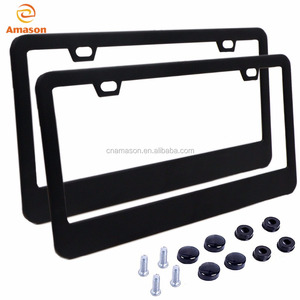 Matt black powder coating 2 hole US standard license plate frame