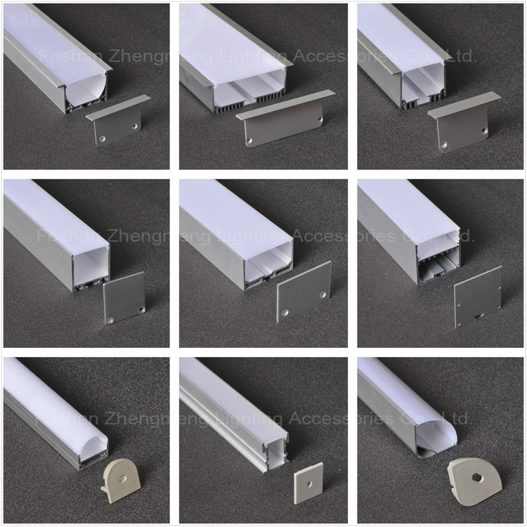 100mm guzhen light led linear light suspended or mounted channel wide recessed aluminum profile hanging/pendant light lamp shell