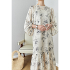 Berry Garden Lazy Lantern Sleeve Printed Two-piece Silk dresses women lady elegant