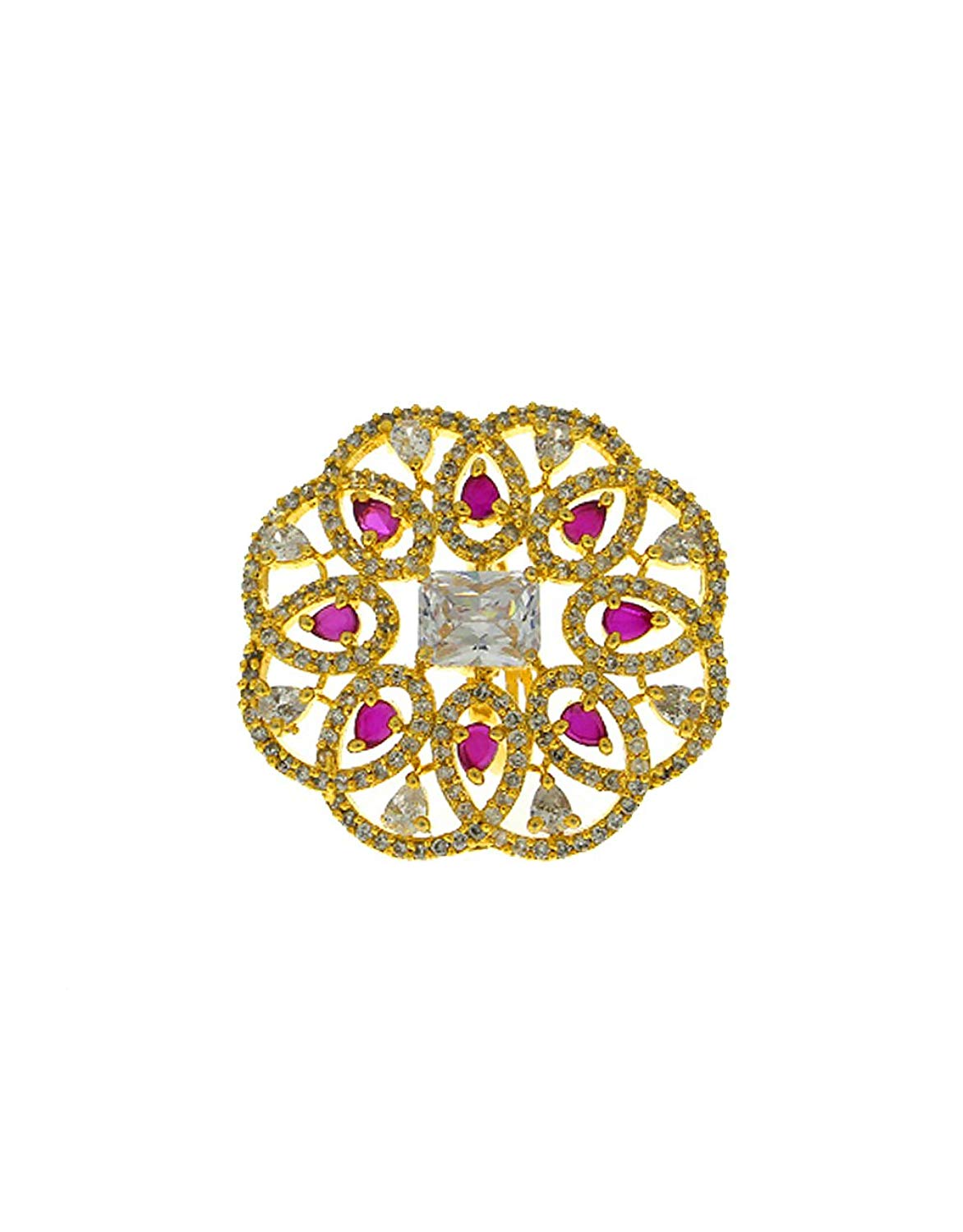 Anuradha Art Golden Finish Styled With Studded Pink Colour Stone Wonderful Finger Ring For Women/Girls