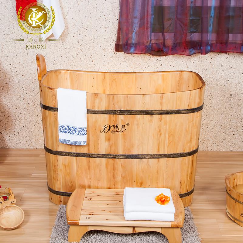Botte di legno portatile vasca con sedile vasca da bagno - Vasca da bagno legno ...