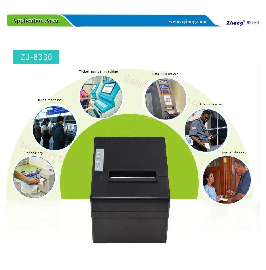 factory 80mm plastic bag sticker thermal printer and cutter support wifi bluetooth