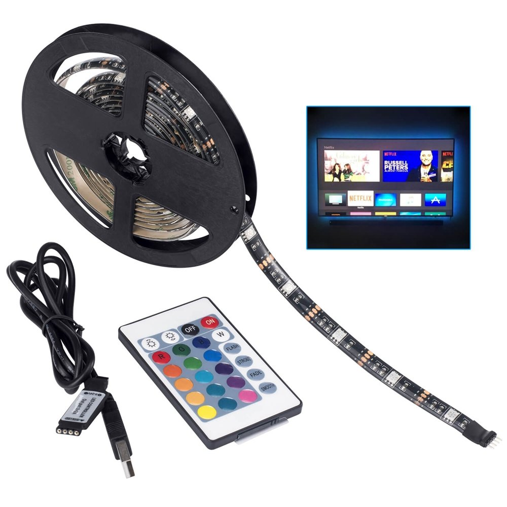 LED TV Backlight,SMY USB LED Strip Light,RGB Multi-Colour Changing Strip Kit Waterproof IP65, 60LED with Wireless Remote Controller for TV/PC/Laptop Bias Lighting (6.56Ft)