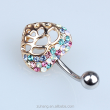 316L Stainless Steel Gemmed Hollow Heart Shaped Navel Ring Belly Banana