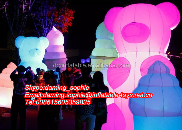 2016 advertising giant inflatable bear with LED lights