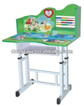 Cheap Adjustable Kids Coloring Study Table Design With Clock Part 79