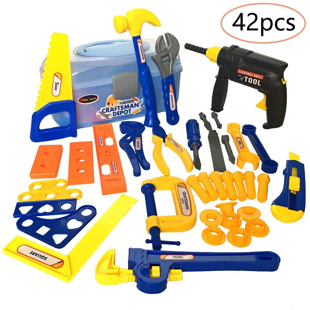 4a98f3c0d WenToyce 42Pcs Durable Kids Tool Box Set, Pretend Role Play Engineering  Construction Accessories, Handy