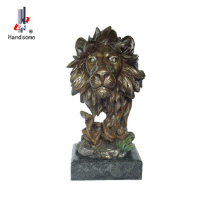 15.5 Inch Animal Souvenir Resin Bronze Lion Head Statue
