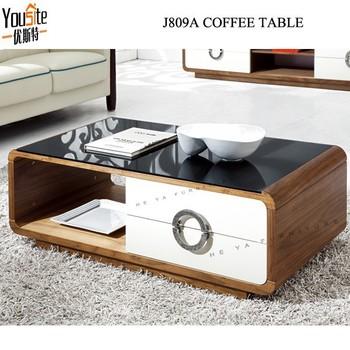 Modern Wooden Teapoy Glass Top High Gloss Center Lcd