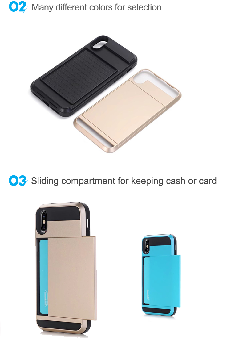 Best Quality Sliding Wallet Card Slot Cellphone Creative Mobile Phone Cases