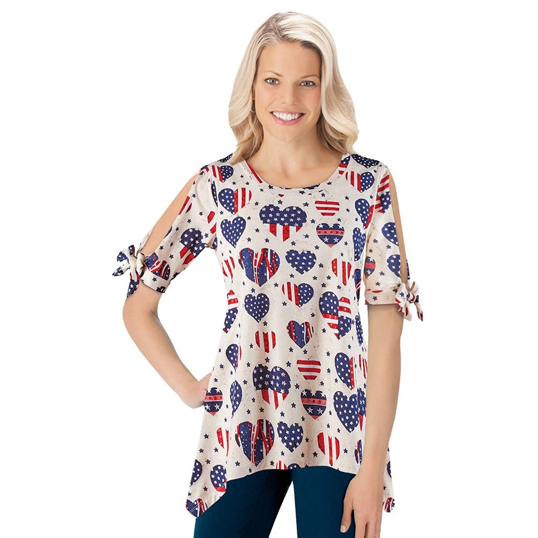 Get Quotations · Collections American Flag Heart Patriotic Casual Peekaboo Sleeve  Sequin Top Shirt with Sharkbite Hem ec55c96b4d9f
