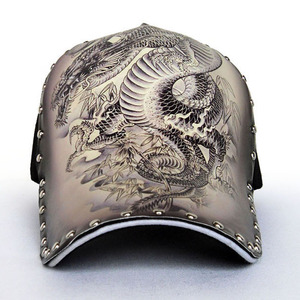 New style fashion rivet dragon pattern printed baseball hat cap 0d91a54766a6